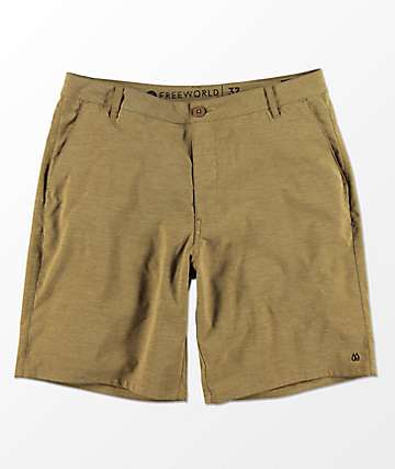 Free World Glassy Tobacco Stretch Hybrid Shorts