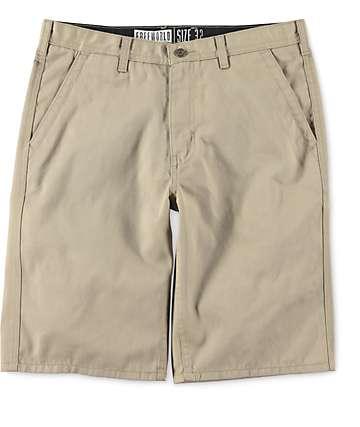 Free World Hooligan Khaki Chino Shorts