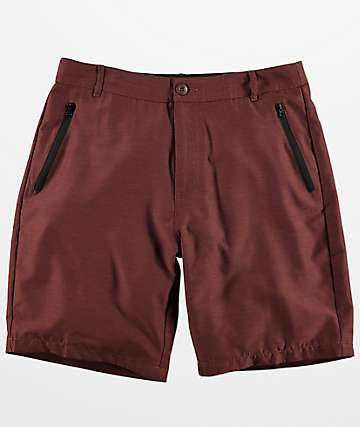 Free World Maverick Dark Burgundy Tech Hybrid Shorts