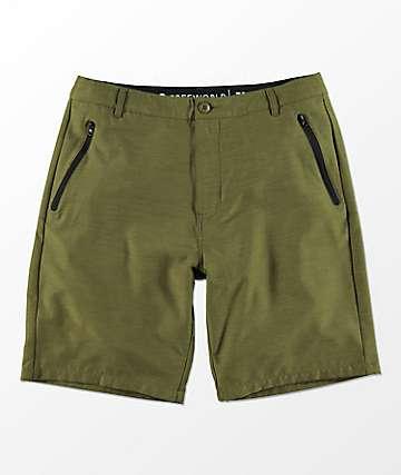 Free World Maverick Dark Green Hybrid Shorts