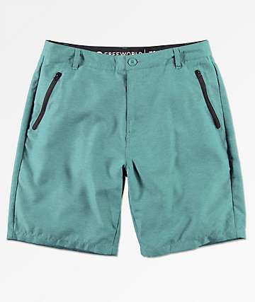 Free World Maverick Teal Hybrid Shorts