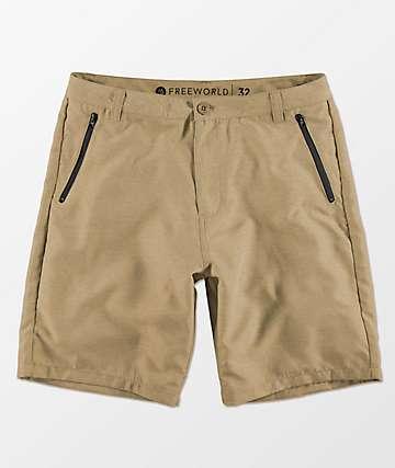 Free World Maverick shorts híbridos en color arena