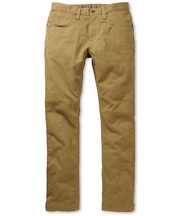 Free World Messenger 5 bolsillo tela asargada pantalones caquis oscuros
