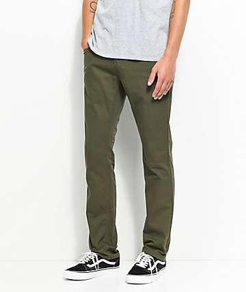 Free World Messenger jeans ajustados de sarga oliva
