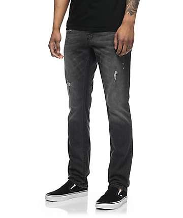 Free World Messenger skinny jeans en negro