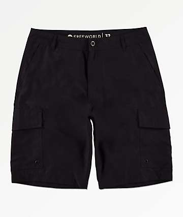 Free World Smashing Black Cargo Hybrid Board Shorts