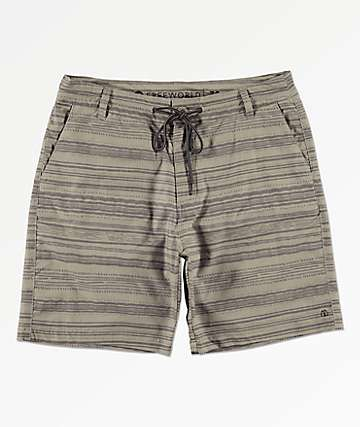 Free World Spring Tide Print Khaki Hybrid Board Shorts