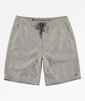 Free World Surfrider Light Grey Print Hybrid Shorts