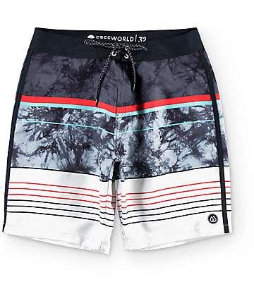 """Free World Tides 20"""" board shorts en negro, rojo y color carbón"""
