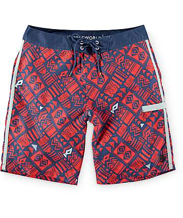 "Free World Tiki Red, Navy, and Grey 20""  Board Shorts"