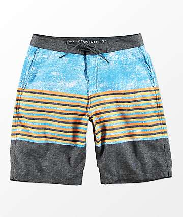 Free World Tubular Blue & Charcoal Board Shorts