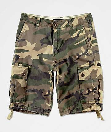 Free World Wreckage Forest Camo Cargo Shorts