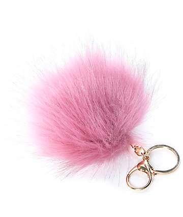 Fuzzy colgante para bolso de pelo en color malva