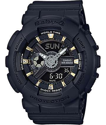 G-Shock Baby-G BA110GA-1A reloj negro y dorado