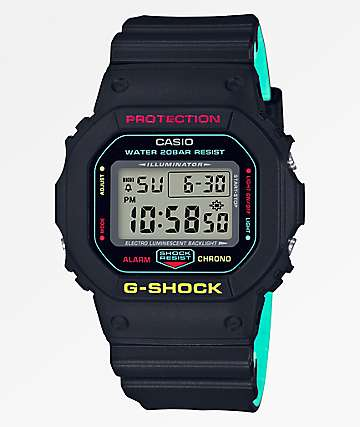 G-Shock DW5600 Retro Black, Yellow, & Blue Watch