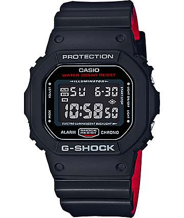 G-Shock DW5600HR-1 reloj digital en negro y rojo