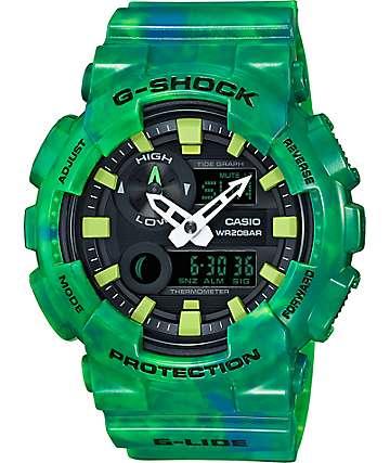 G-Shock G-Lide GAX100MB-3A reloj análogo y digital mármol verde