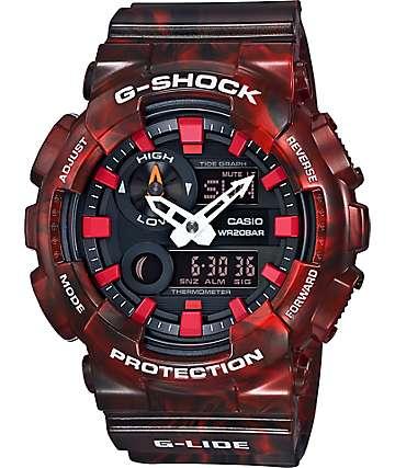 G-Shock G-Lide GAX100MB-4A reloj análogo y digital mármol rojo