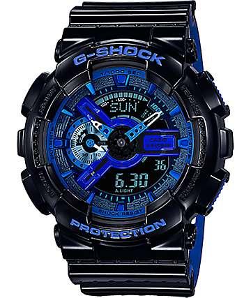 G-Shock GA-110LPA-1A Military reloj perforado en negro y azul