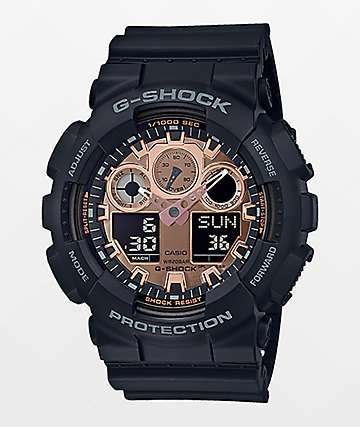 G-Shock GA100 Black & Rose Gold Watch