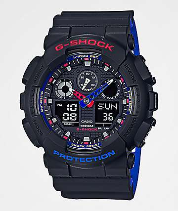 G-Shock GA100LT Black, Red & Blue Digital & Analog Watch