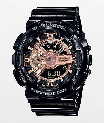 G-Shock GA110 Black & Rose Gold Watch