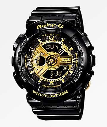 G-Shock GA110 Mini Gloss Black & Gold Digital & Analog Watch