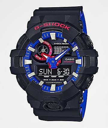 G-Shock GA700 Black, Red & Blue Digital & Analog Watch