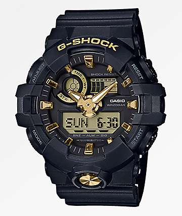 G-Shock GA710 Black & Gold Digital & Analog Watch