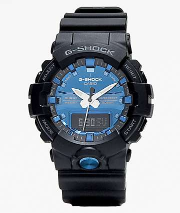 G-Shock GA810 reloj analógico negro y azul metálico