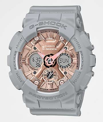 G-Shock GMAS120 Grey, Pink & Rose Gold Watch