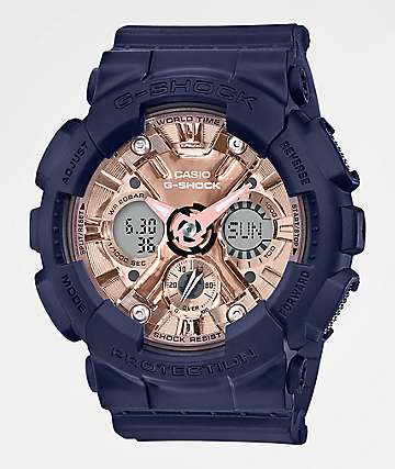 G-Shock GMAS120 Navy, Pink & Rose Gold Watch