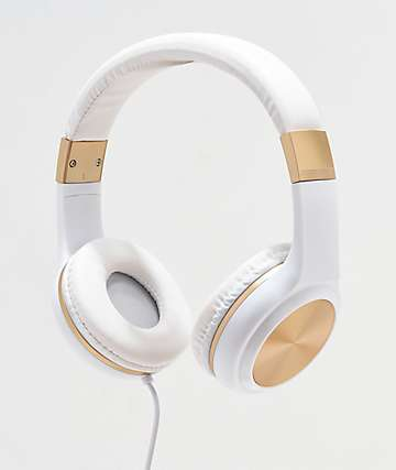 Gabba Goods Sleek Sounds White & Gold Wired Headphones