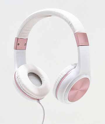 Gabba Goods Sleek Sounds auriculares con cable en blanco y oro rosa