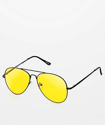 Gafas de sol aviador en negro y amarillo