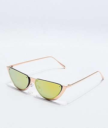 Gafas de sol de medio círculo de oro rosa