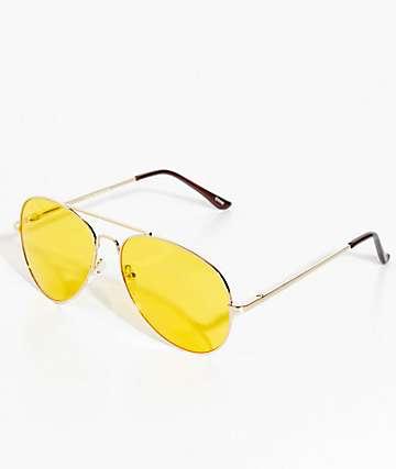 Gafas de sol estilo aviador amarillo y oro