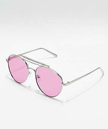 Gafas de sol estilo aviador en rosa y plata