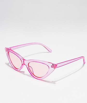 Gafas de sol ojo de gato en rosa transparente