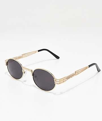 Gafas de sol redondas en negro y plata
