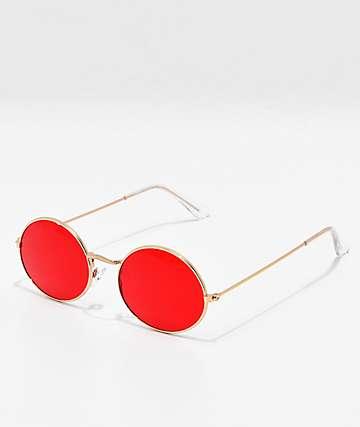 Gafas de sol redondas en rojo y oro