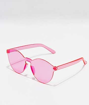 Gafas de sol sobredimensionadas en rosa transparente