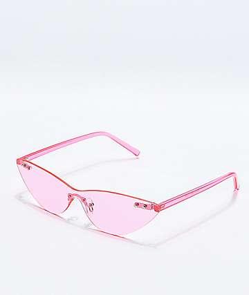 Gafas de sol transparentes de color rosa