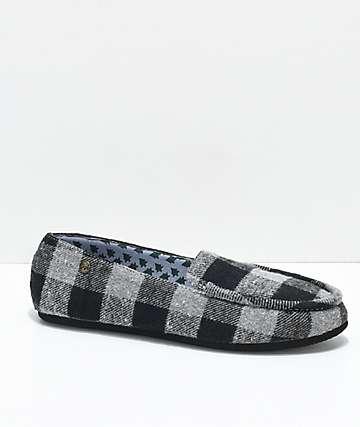 Gigi Apres Grey Plaid Slippers