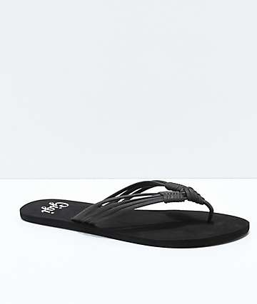 Gigi Boardwalk Black Thong Sandals