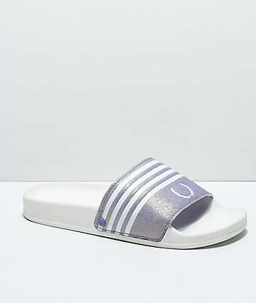 Gigi Laurel White & Lavender Slide Sandals