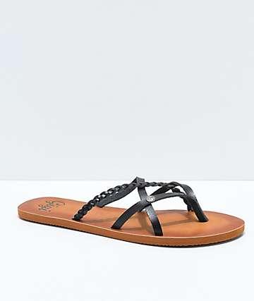 Gigi Star Strappy Black Sandals