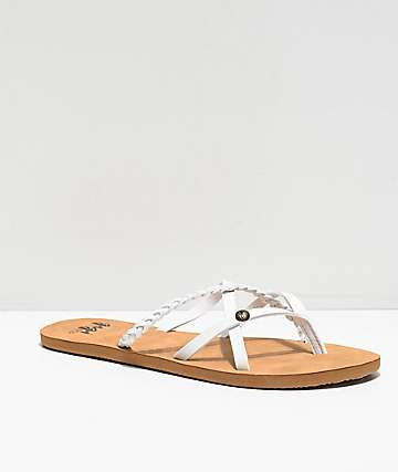 Gigi Star Strappy White & Tan Sandals