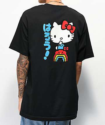 Girl x Hello Kitty 45th Anniversary Rainbow Black T-Shirt
