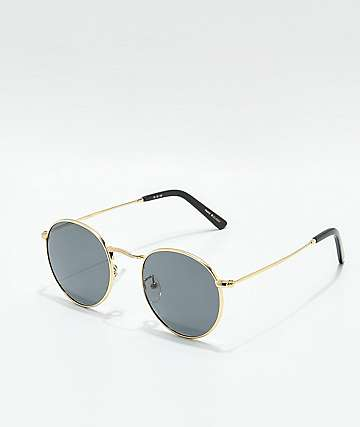Glassy Pierce Round Polarized Gold Sunglasses